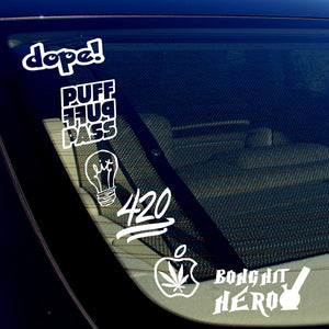 420 Weed Pot Dope Funny Vinyl Decal Sticker Pack of 6 #A16PK