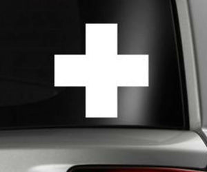 "Medic Cross EMT Paramedic Military Nurse Sticker Decal 4"" (MedicCrossWhite)"