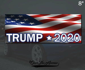 Trump 2020 USA FLAG Bumper Sticker Decal - 8""