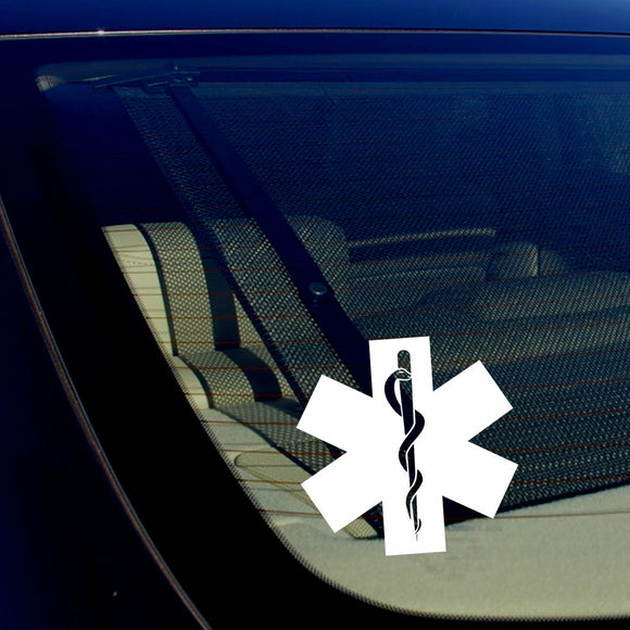 2 Pack Star of Life Ambulance EMT EMS Rescue Paramedic White Decal Stickers 5