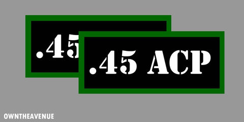 ".45 ACP Ammo Can Labels for Ammunition Case 3.5"" x 1.50"" stickers decals (2PACK)"