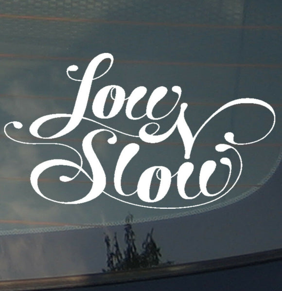 Low & Slow JDM Low Drifting Racing Slammed Dope Cursive Decal Sticker