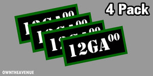 "12 GA 00 Ammo Can Labels for Ammunition Case 3.5"" x 1.50"" stickers decal 4PACK"