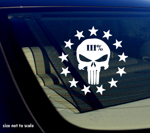 3 Percenter Punisher III 3% 2A Gun Rights Vinyl Decal Sticker Car Truck Window