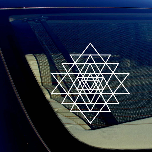 Sri Yantra Sacred Geometry Math Kabbalah Car Window Sticker Decal 7.5