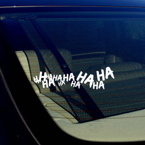 "x2 / Two Joker Hahaha Serious Super Bad Evil Car Sticker Decal 7.5"" White"
