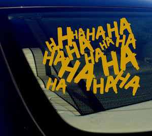 "Haha Sticker Decal Joker Serious Evil Body Window Car Gold 8"" (HAHAsqVCGold8)"