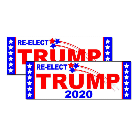 x2 / Two Pack Re-Elect TRUMP 2020 Bumper Sticker Decal Keep America Great Again