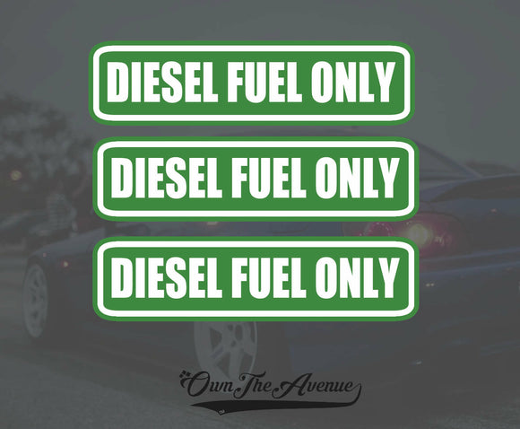 3x Diesel Fuel Only sticker decal tank fuel door set pack lot 5