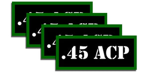 ".45 ACP Ammo Can Labels for Ammunition Case 3.5"" x 1.50"" stickers decals 4 Pack"