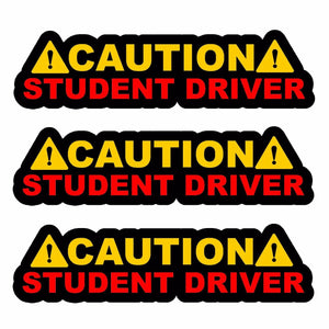"x3 / Three Caution Student Driver! Auto JDM Racing Drifting Decal Sticker 6"" #DG"