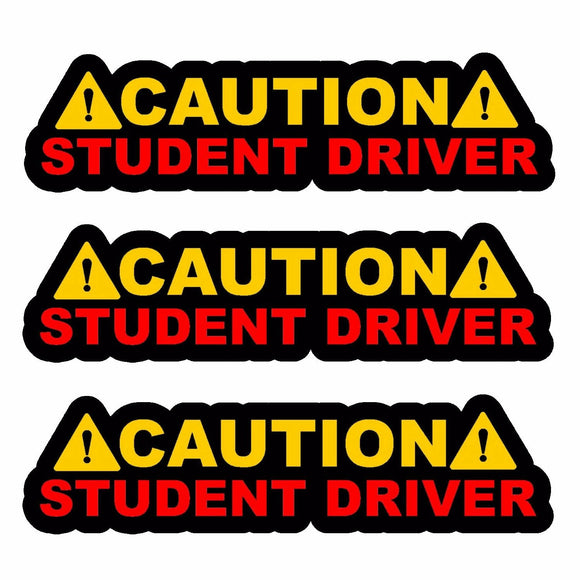 x3 / Three Caution Student Driver! Auto JDM Racing Drifting Decal Sticker 6