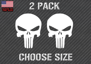Punisher Skull  Decal Sticker - Military  - CHOOSE SIZE - WHITE (PunCSwht) rt466
