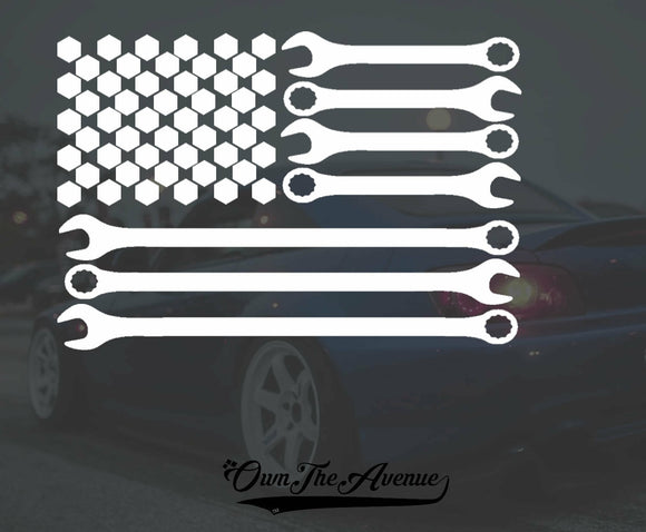 Mechanic Sticker Decal American Flag Veteran USA Patriot Wrench Bolt 6.5