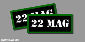 "22 Mag Ammo Can Labels for Ammunition Case 3.5"" x1.50"" stickers decals (2PACK)"