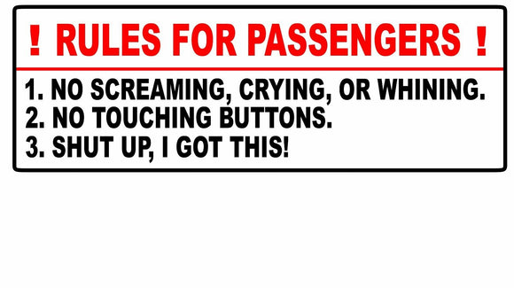 Rules For Passengers Decal Car Sticker Funny JDM Stance Euro 4x4 Truck Mud 8.5