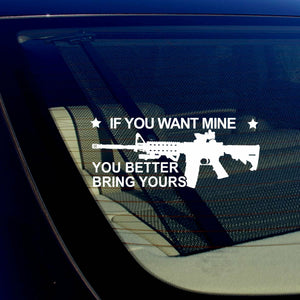 If You Want Mine 2nd Amendment Gun Rights Spartan 300 3% Decal Sticker 6""