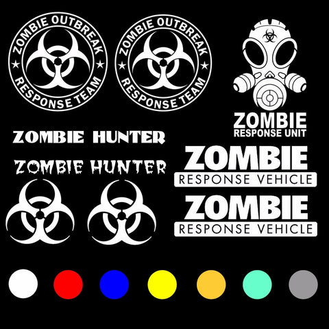 Zombie Response Team Vehicle Decal Sticker Kit Pack Lot of 10 Choose color (zP)