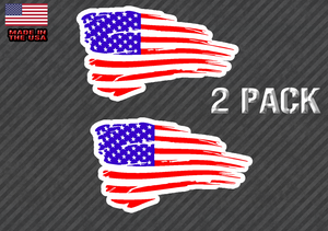 Distressed American Flag Sticker Decal Subdued USA 2 Pack CHOOSE SIZE 2 REG - FC