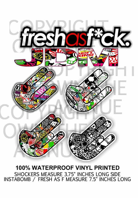 6x JDM Sticker Decal Pack Lot Bomb Racing Drift Low Dope (6PkMto-Cross)