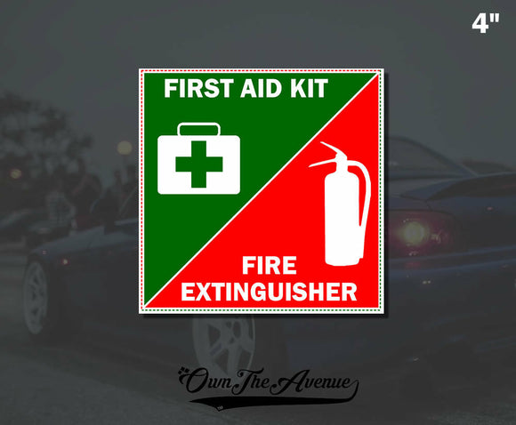 First Aid Kit Fire Extinguisher Sticker Decal Emergency Safety Inside