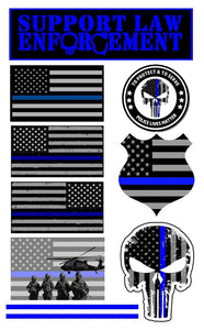 Support Police Blueline Flag Decal Stickers Pack of 10