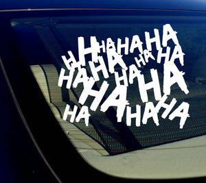 "Haha Sticker Decal Joker Serious Evil Body Window Car White 4"" (HAHAsqVCwht4)"