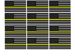 "x12 Support Dispatcher Police Yellow Line Sticker Decal Flag Hard Hat 2"" Each"