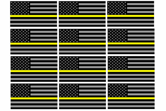x12 Support Dispatcher Police Yellow Line Sticker Decal Flag Hard Hat 2