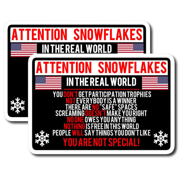 x2 Attention Snowflake Funny Political Trump Car Truck Window Decal Sticker