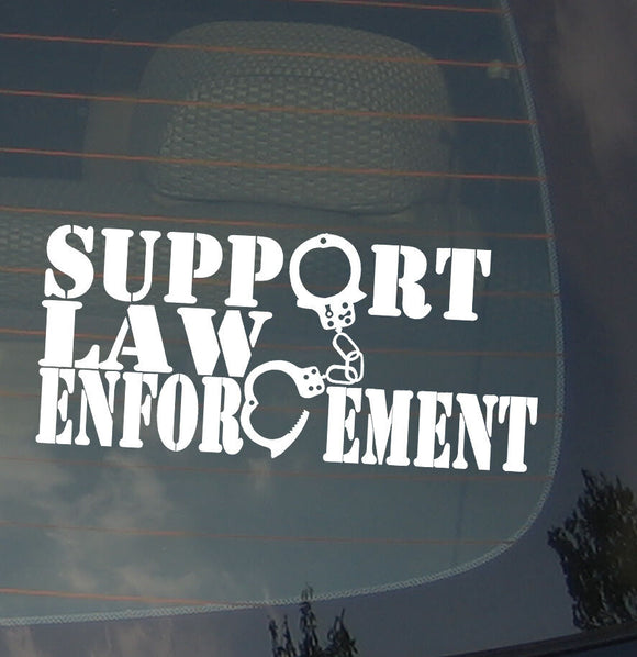 Support Law Enforcement Police Pro Patriotic U.S.A. Vinyl Decal Sticker 7.5