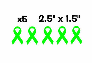 "x5 Lymphoma Cancer Ribbon Lime Green Pack Vinyl Decal Stickers 2.5"" x 1.5"""