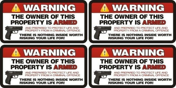 x4 / Four Pack Security Auto Warning 2nd Amendment Vinyl Decal Window Sticker 6