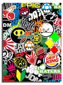 "x1 Sticker Bomb Lot Pack Sheet Style #7 JDM Racing Drifting 10"" Inches Long Mod3"