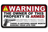x4 / Four Pack Security Auto Warning 2nd Amendment Vinyl Decal Window Sticker 6""
