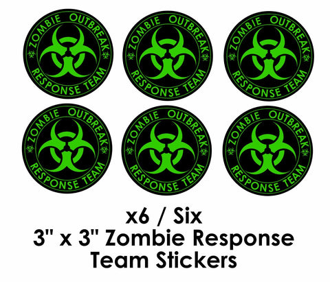 "x6 Zombie Decal Stickers Outbreak Response Team Vinyl 3"" x 3"" Border Cut"