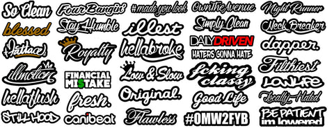JDM CAR STICKER DECAL PACK OF 32 MEGA LOT TUNER LOW FUNNY (MegaSC)