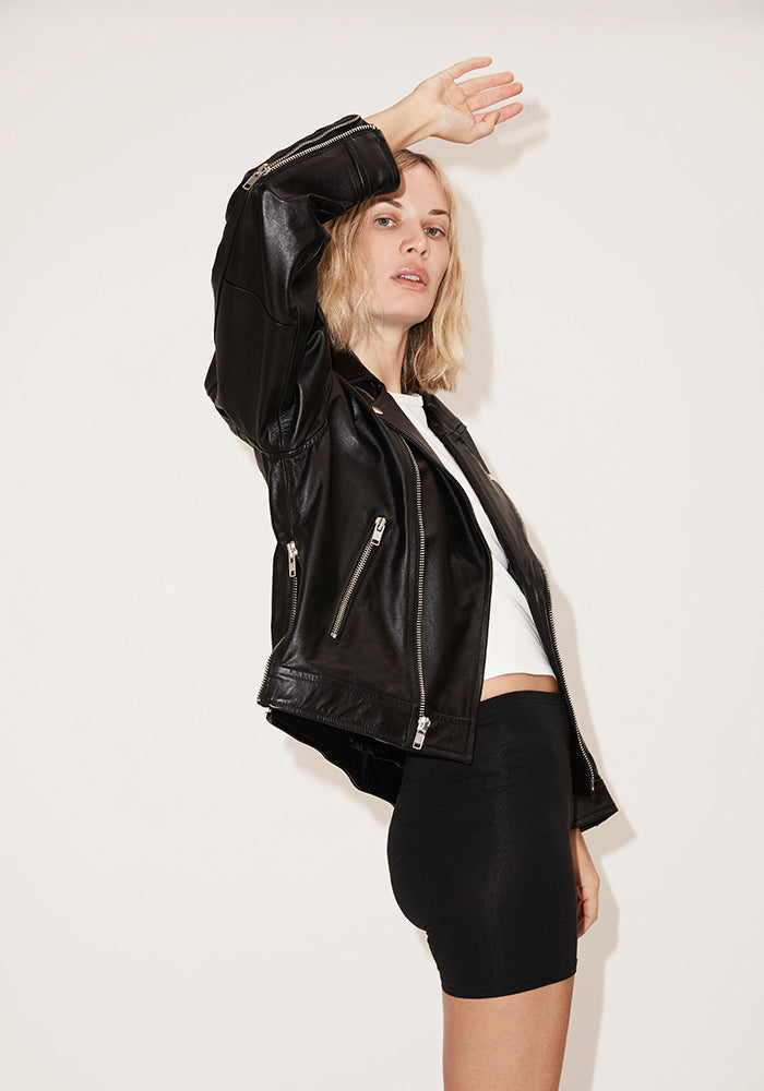 Oversize Side-Zip Moto Jacket