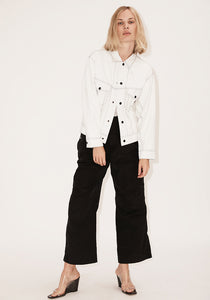 Oversize Contrast Thread Yoke Jacket