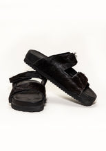 Load image into Gallery viewer, Black Cowhide Sandal