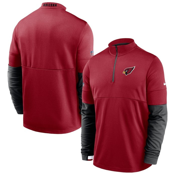 Men's Arizona Cardinals Nike Cardinal/Black Sideline Performance Half-Zip Jacket