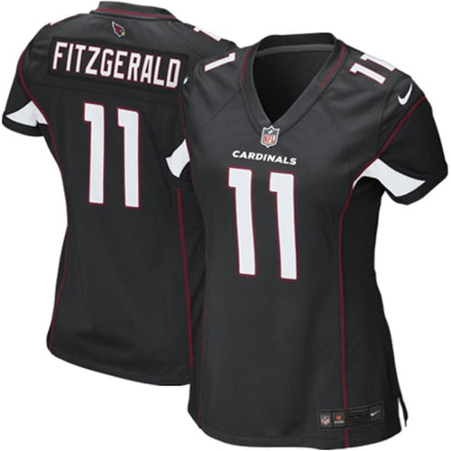ARIZONA CARDINALS WOMENS FINISHED GAME COLOR RUSH JERSEY LARRY FITZGERALD BLACK