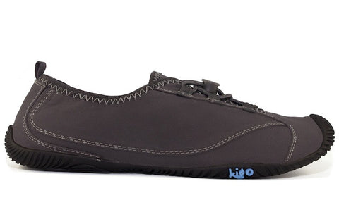 kigo drive casual shoe black grey stitch speed lacing