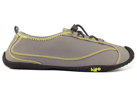 kigo drive casual shoe grey yellow stitch speed lacing