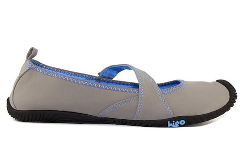 kigo flit casual mary jane shoe grey blue stitch elastic panel strap