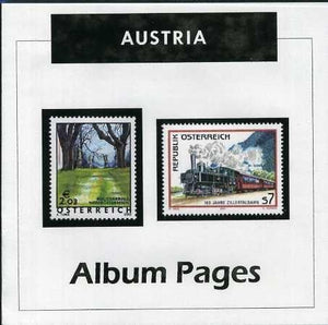 Austria - Stamp Album 1850-2016 Color Illustrated Album Pages- Digital Download