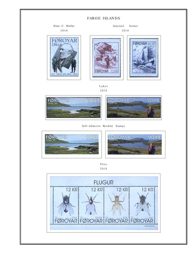 Faroe Islands Album Pages Color Illustrated 2016- 2018 Supplement PDF file