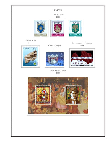 Latvia Album Pages Color Illustrated 2018 Supplement PDF file