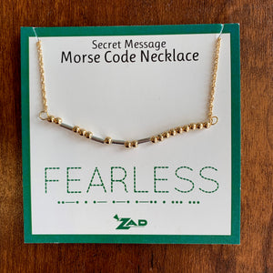 """Fearless"" Morse Code Necklace"