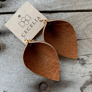 Cecelia Natural Leaf Leather Earrings